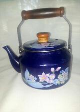 Sakura enamel Tea kettle Cherry Blossoms 1981 Gail Styn Sutton Japan Vintage