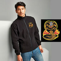 Embroidered Cobra Kai Full Zip Martial Arts FLEECE Highest Quality Jacket Karate