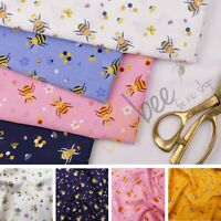 Wonder Bees 100% Cotton Poplin Bumble Bee Honey Bee Print Fabric Dress Material