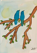 ACEO original blue birds branches sky painting by Lynne Kohler