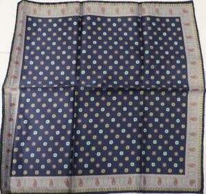 "New SANTOSTEFANO Grey Yellow  12"" Silk Pocket Square Handkerchief NWT $150"