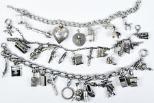 RARE 3 Vintage Charm Bracelet Movable Moving Old Sterling Silver Puffy Heart LOT