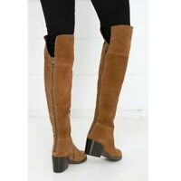 Steve Madden Brown Orabela Chestnut Suede Leather Over the Knee Boots Women's 7
