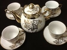 13 Piece Tea Set Tea Pot 6 Cups 6 Saucer Rack White Gold 3 oz Cup