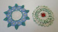 Vintage Crocheted Doilies Set of 2 Green Blue Rose Pansies Handmade 6133