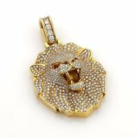 Magnificent 5ct Diamonds & Ruby 14k Yellow Gold Carved Lion Head Pendant