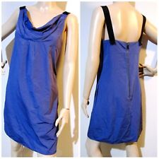 CUE size 8 structured cowl neck blue / violet DRESS exposed back zip & pockets