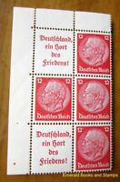 EBS Germany 1936 Hindenburg se-tenant BLOCK OF 6 a Mi. S145 W67 S143 MNH** cv$56