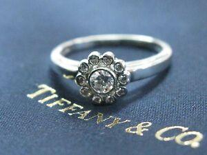 Tiffany & Co Platinum Diamond Flower Ring .35CT