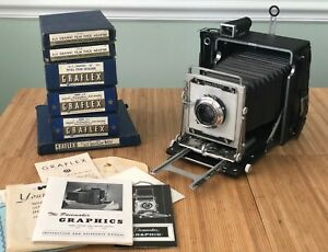 Vintage 1950's 4x5 GRAFLEX Pacemaker Crown Graphic Camera w/Accessories +Manuals