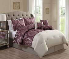 Luxurious 7 Piece Jacquard Mauve/Beige Comforter Bedding Set New