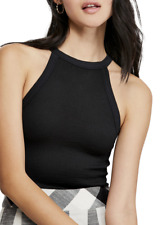 Free People Wide Rib Seamless Black Cami Women's Size XS 14604