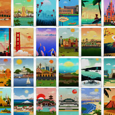 Travel Poster World Famous City Fabric Print A3 Size Vintage Wall Art Home Decor