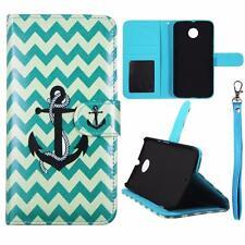 For Motorola Moto X X2 2nd Gen Wallet Aqua Anchor Cover Split Leather Case Uni