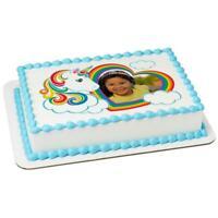 Rainbow Unicorn Birthday ~ Edible 2D Fondant Cake Photo Frame Topper  ~ D24118 *