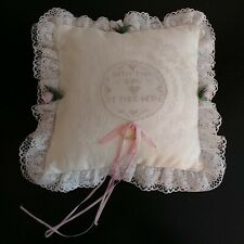 Vtg Cross Stitch Ring Bearer Pillow WITH THIS RING I THEE WED Satin Lace Ribbons