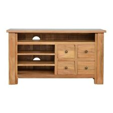 Media Unit Light Mango Wood Storage Drawers Shelves Brass Country Cottage