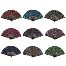 Spanish Vintage Embroidered Exquisite Sequins Peacock Folding Hand Held Fan