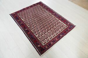"""4' 8"""" x 3' 7"""" Hand-knotted Small Vintage Rug Soft 3x5 Beige Paisley Wool Carpet"""