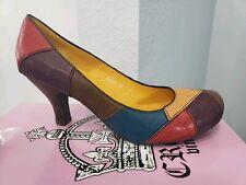 RARE Crown Vintage Leather Colorblock Patch Red/Teal/Purple Pump Heel Sandal 9 M