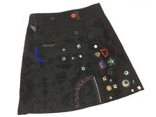 DESIGUAL Wool Wrap Skirt Embellished Welcome To Our World size 36 Small 07F2775