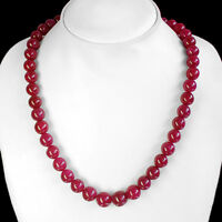 GEUNINE ATTRACTIVE BEST 336.00 CTS NATURAL RED RUBY ROUND BEADS NECKLACE STRAND