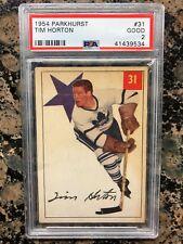 1954 PARKHURST TIM HORTON CARD #31 PSA GRADED 2 GOOD MAPLE LEAFS