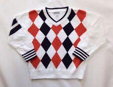 EUC Boy's Hartstrings White Orange and Navy Argyle V-Neck Sweater-Size 5/6