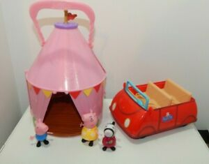 Peppa Pig's Red Car with Sounds & figures + Tent Lot