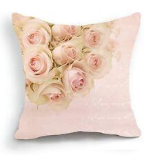 Retro Design 18'' Cushion Cover Pillow Case Pink Rose Blossom Flower Home Decor