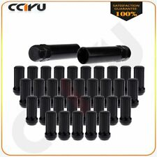 32 Pc Set Black 7 Spline Drive Close End Lug Nuts Fits Ford F-350 Dually+2 Keys