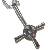INVERTED CROSS PENTAGRAM NECKLACE stainless steel pendant chain Satanic Satan F5