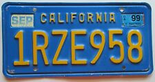 California 1999 BLUE License Plate # 1RZE958