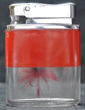"VINTAGE JAPAN FLY FISHING LURE SEE-THRU LIGHTER - 1 5/8 X 2 1/4"" - Red Lure"
