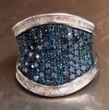NWOT STS Signed Sterling Silver Ring w/ Blue Diamonds Size 7