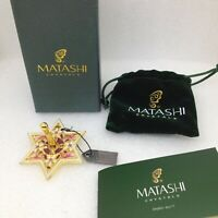 Matashi Spinning Dreidel Crystal Enamel Floral Jewish Holiday Ornament with Box