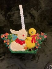 Vintage Easter Basket Duck & Bunny Us Patent # 1087106 Foldable Colapseable