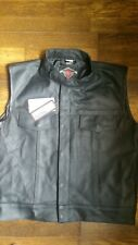 Sons of Anarchy Leather Biker Waistcoat Motorcycle Motorbike Vest by Texpeed xl