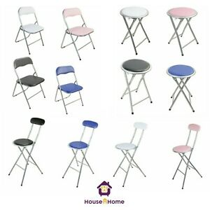 FOLDING COMPACT BREAKFAST BAR STOOL FOLDABLE  CHAIR SEAT PADDED HOME OFFICE