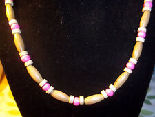 Handmade 19 inch PINK and TAN Wood Bead NECKLACE CHOKER C-68