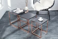 Designer Coffee Table Coffee Table Anthracite Copper Zigon Set of 3 40x45x40