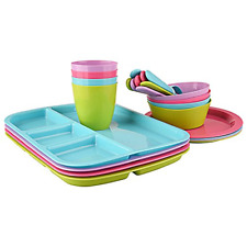 24 pc Kids Dinner Set by Mainstays, BPA free, Microwave/dishwasher safe, toddler