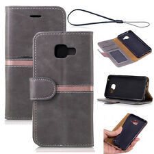 Gray Flip Wallet Magnetic PU Leather Case Cover With Stand For Various Phones