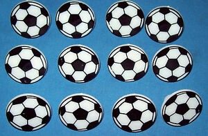 12 SOCCER BALL PLASTIC RINGS FOR DECORATING CUPCAKES