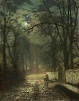 John Atkinson Grimshaw A Moonlit Lane Poster Reproduction Giclee Canvas Print