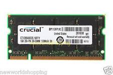 Crucial 1GB DDR PC2700 333Mhz 200pin So-Dimm Laptop Notebook Memory NON-ECC RAM