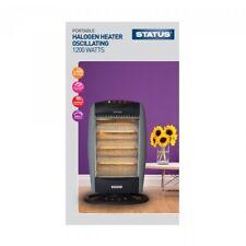 1200W Portable Electric Oscillating Halogen Heater 3 Bar Quartz Overheat Protect