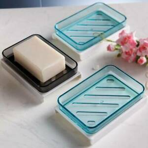 Bathroom Simple Soap Dish Box Sponge Layer Double Holder Soap Case Container CH