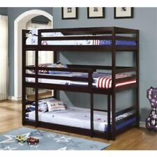 Pemberly Row Triple Layer Twin Bunk Bed in Cappuccino