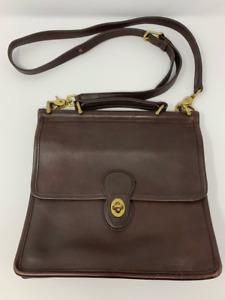 Coach Womens Willis Crossbody Messenger Bag Brown Leather Turnlock Vintage